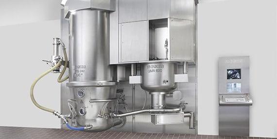 Гранулирование: Компактная установка для гранулирования для производства твердых фармацевтических веществ