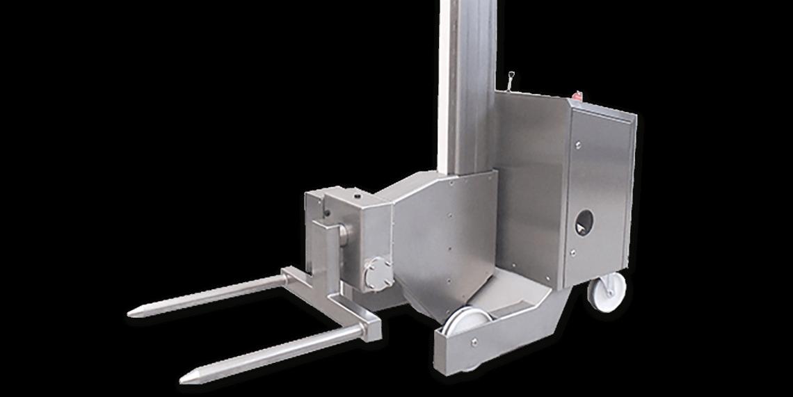 Телескопический подъемник для транспортировки поддонов или контейнеров в фармацевтической промышленности